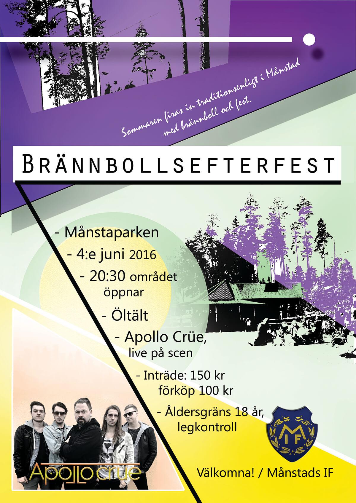 Affisch för Brännbollscupen 2016 i Månstaparken Månstad